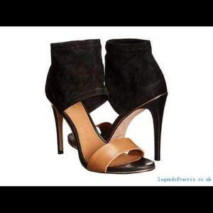 Coach two tone black tan heels